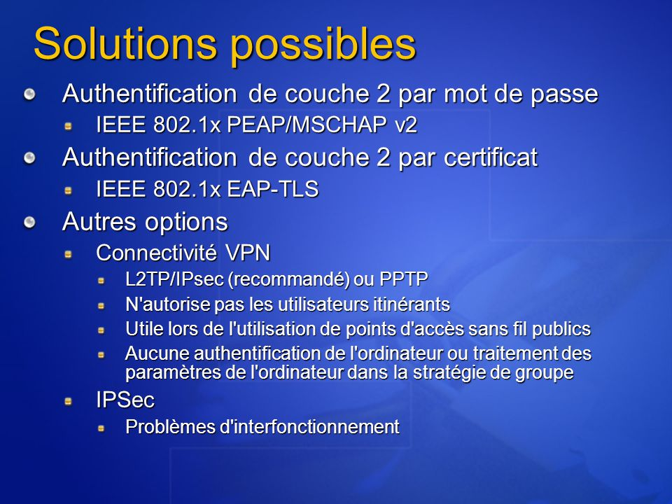 Solutions possibles Authentification de couche 2 par mot de passe