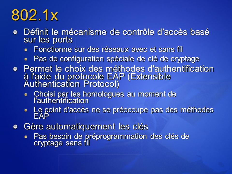 802.1x Définit le mécanisme de contrôle d accès basé sur les ports