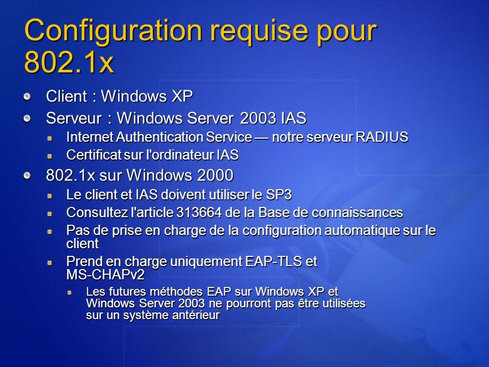 Configuration requise pour 802.1x