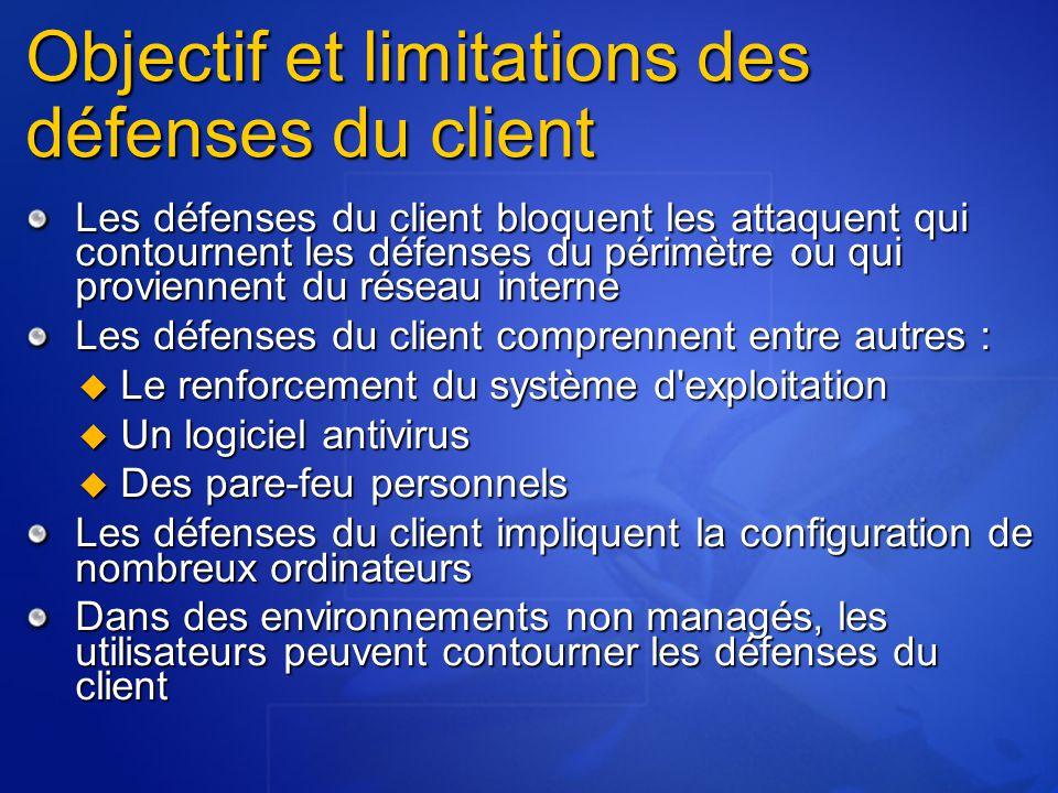 Objectif et limitations des défenses du client