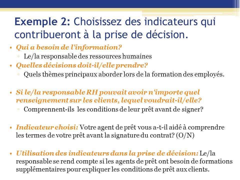 Exemple 2: Choisissez des indicateurs qui contribueront à la prise de décision.