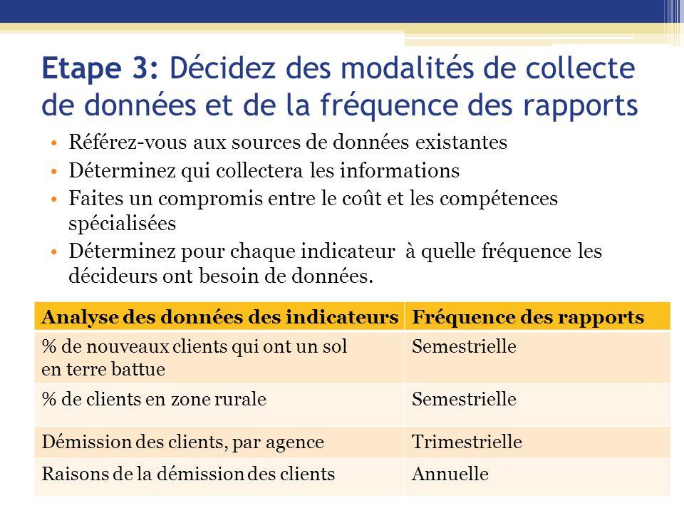 Etape 3: Décidez des modalités de collecte de données et de la fréquence des rapports