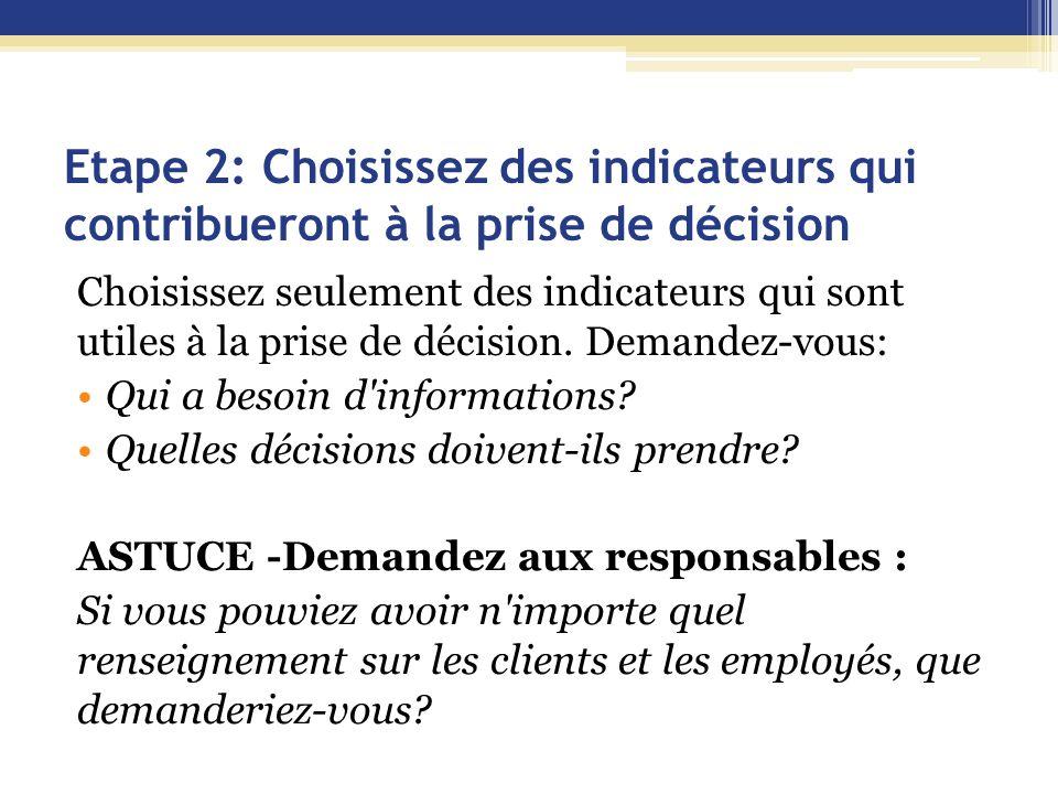 Etape 2: Choisissez des indicateurs qui contribueront à la prise de décision