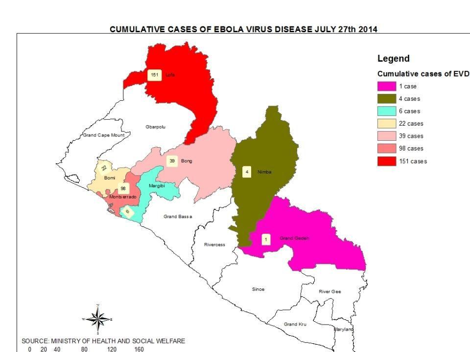 Districts sanitaires touchés par la FHV-Ebola, Guinée, 27 juillet 2014