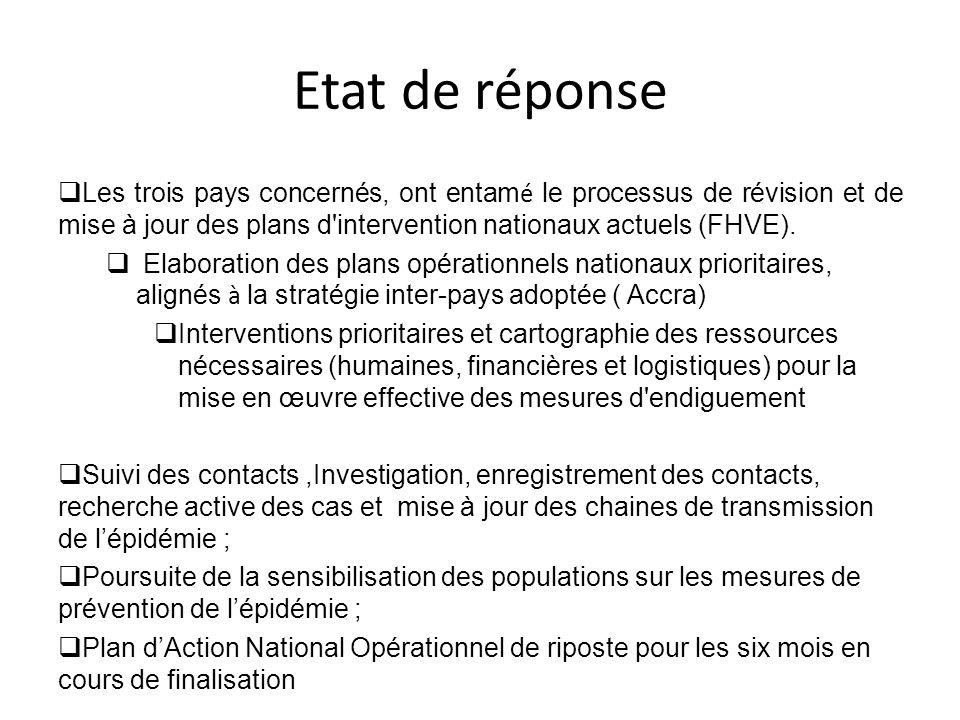 Etat de réponse Les trois pays concernés, ont entamé le processus de révision et de mise à jour des plans d intervention nationaux actuels (FHVE).