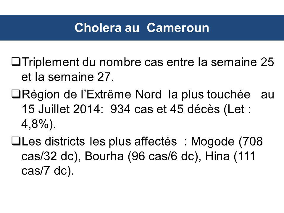 Cholera au Cameroun Triplement du nombre cas entre la semaine 25 et la semaine 27.