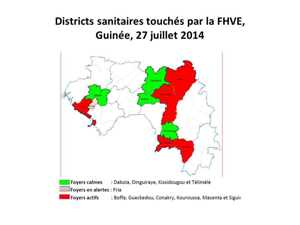 Districts sanitaires touchés par la FHVE, Guinée, 27 juillet 2014