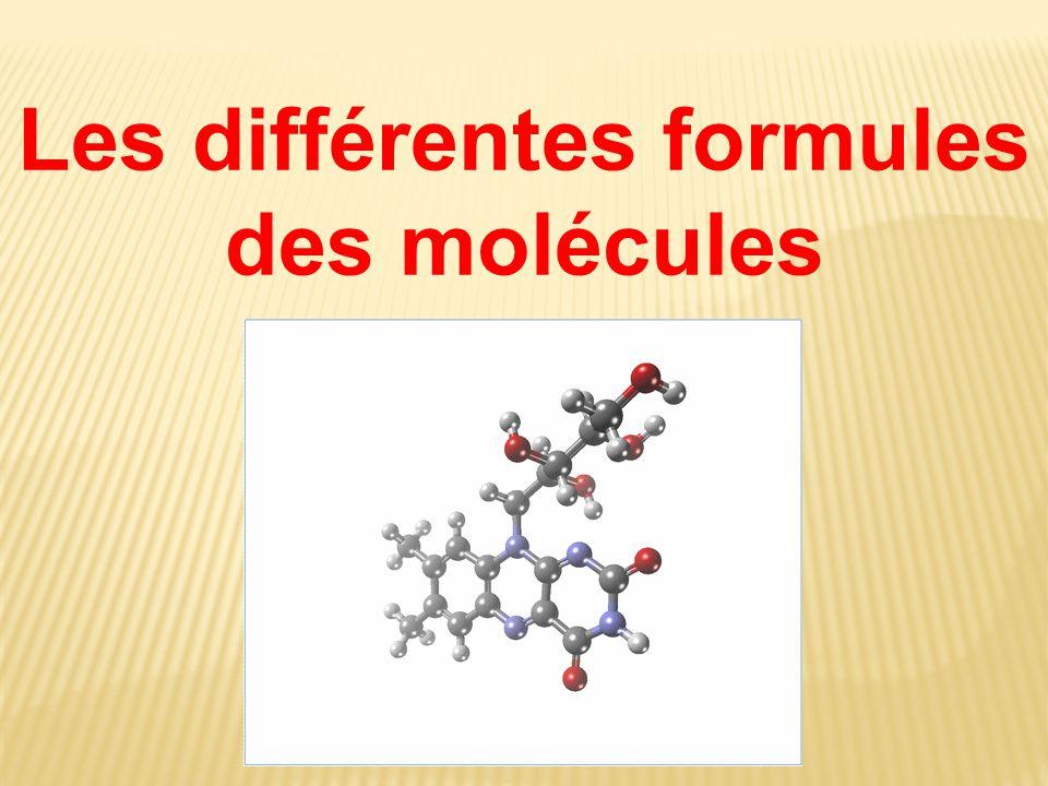 Les différentes formules des molécules