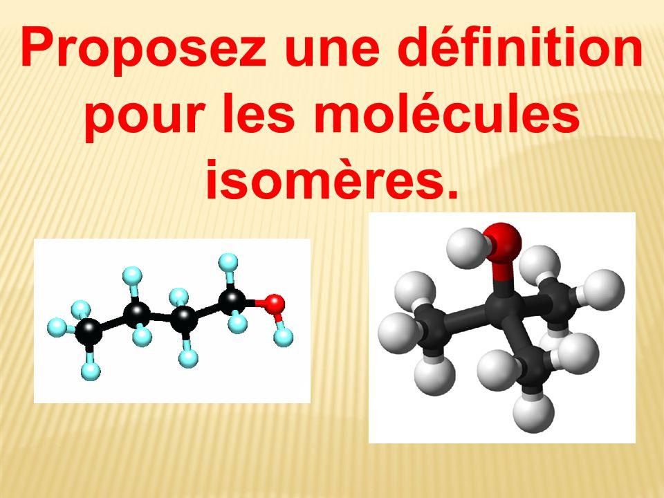 Proposez une définition pour les molécules isomères.