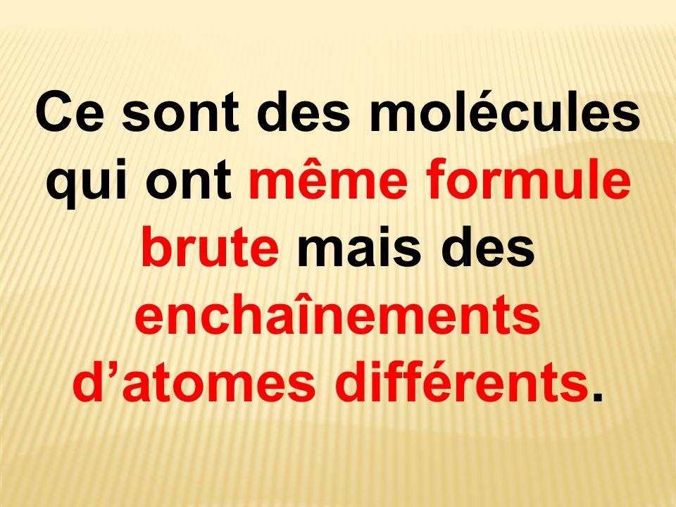 Ce sont des molécules qui ont même formule brute mais des enchaînements d'atomes différents.