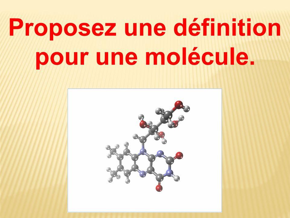 Proposez une définition pour une molécule.