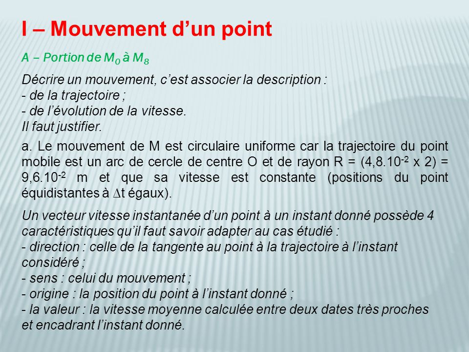 I – Mouvement d'un point
