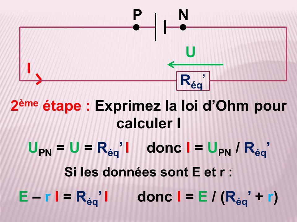 2ème étape : Exprimez la loi d'Ohm pour calculer I