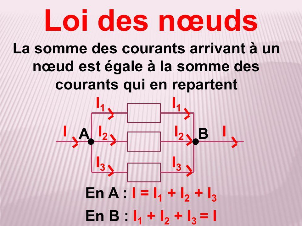 Loi des nœuds La somme des courants arrivant à un nœud est égale à la somme des courants qui en repartent.