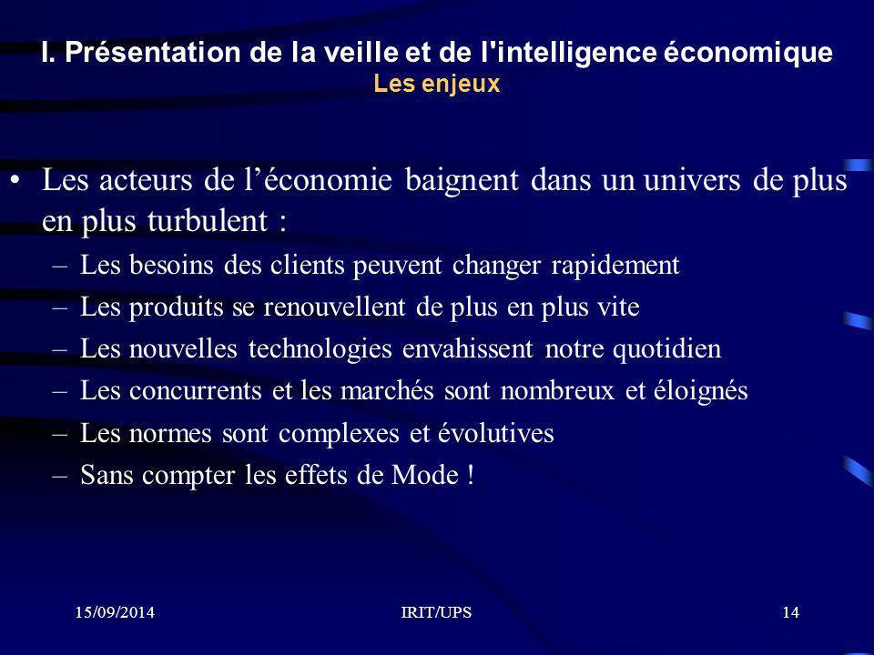 I. Présentation de la veille et de l intelligence économique Les enjeux