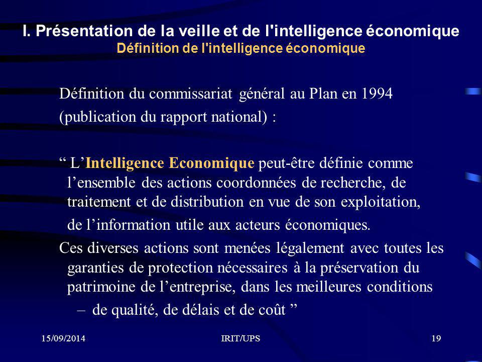 Définition du commissariat général au Plan en 1994