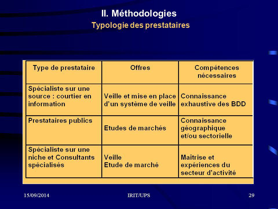 II. Méthodologies Typologie des prestataires