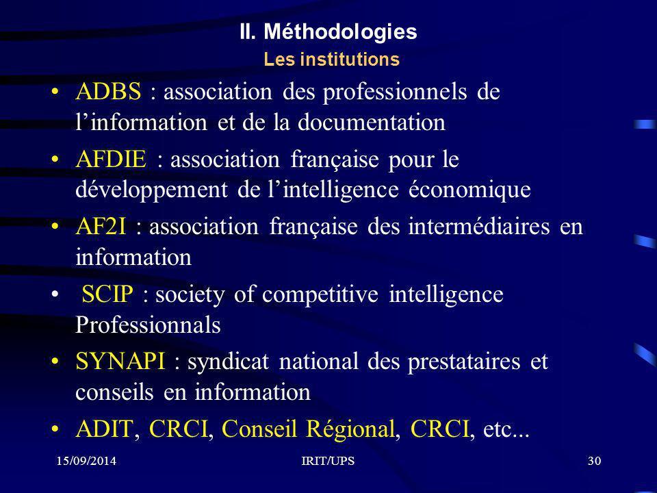 II. Méthodologies Les institutions
