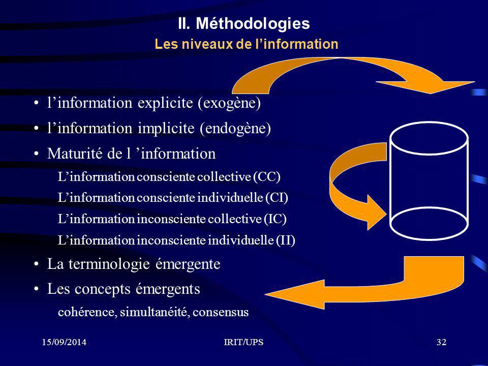 II. Méthodologies Les niveaux de l'information