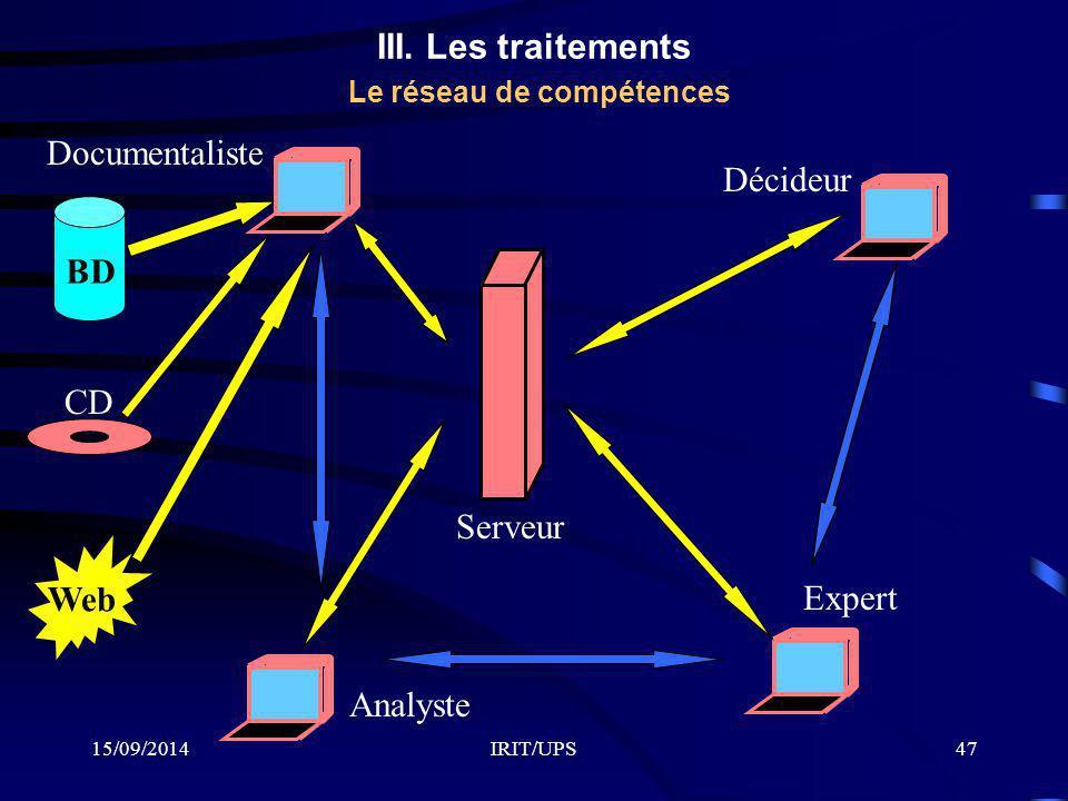 III. Les traitements Le réseau de compétences