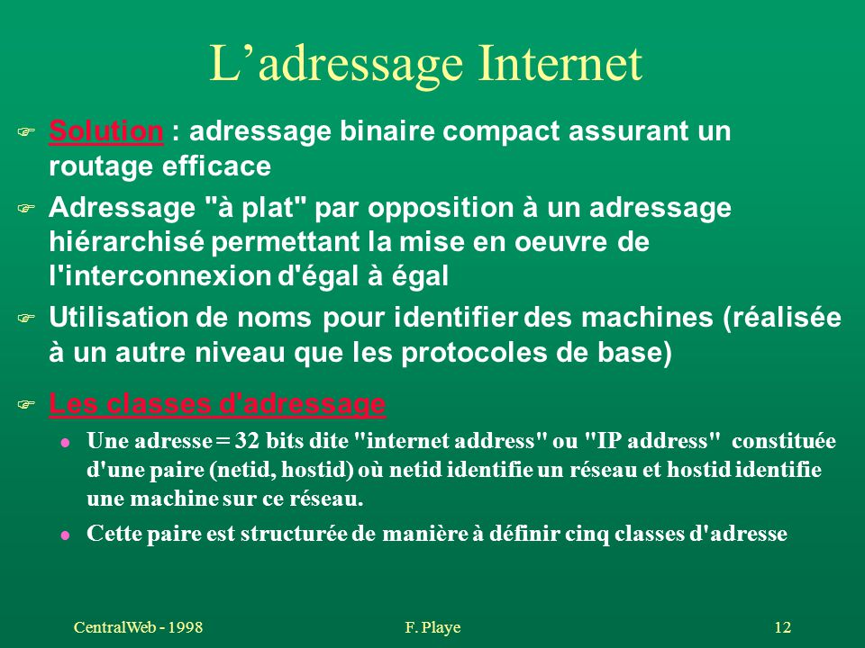 L'adressage Internet Solution : adressage binaire compact assurant un routage efficace.