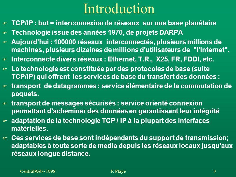 Introduction TCP/IP : but = interconnexion de réseaux sur une base planétaire. Technologie issue des années 1970, de projets DARPA.