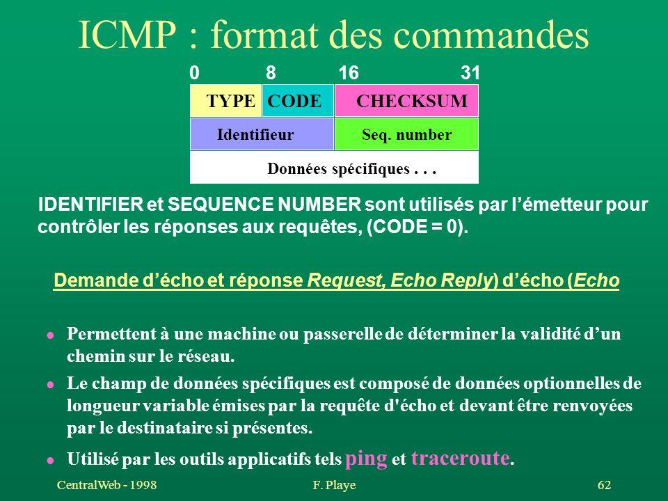 ICMP : format des commandes
