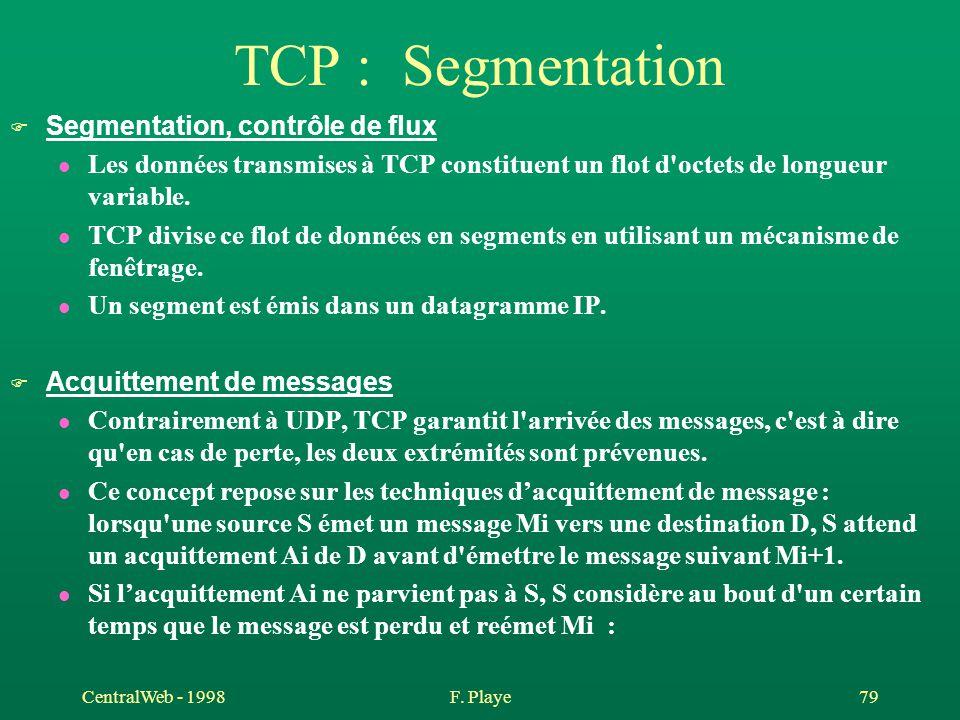 TCP : Segmentation Segmentation, contrôle de flux