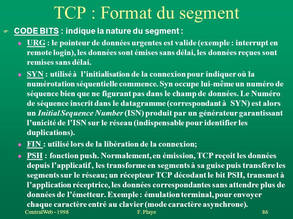 TCP : Format du segment CODE BITS : indique la nature du segment :