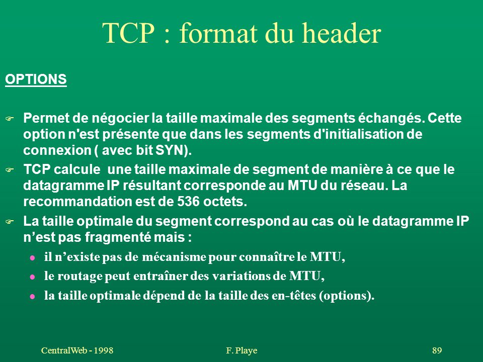 TCP : format du header OPTIONS