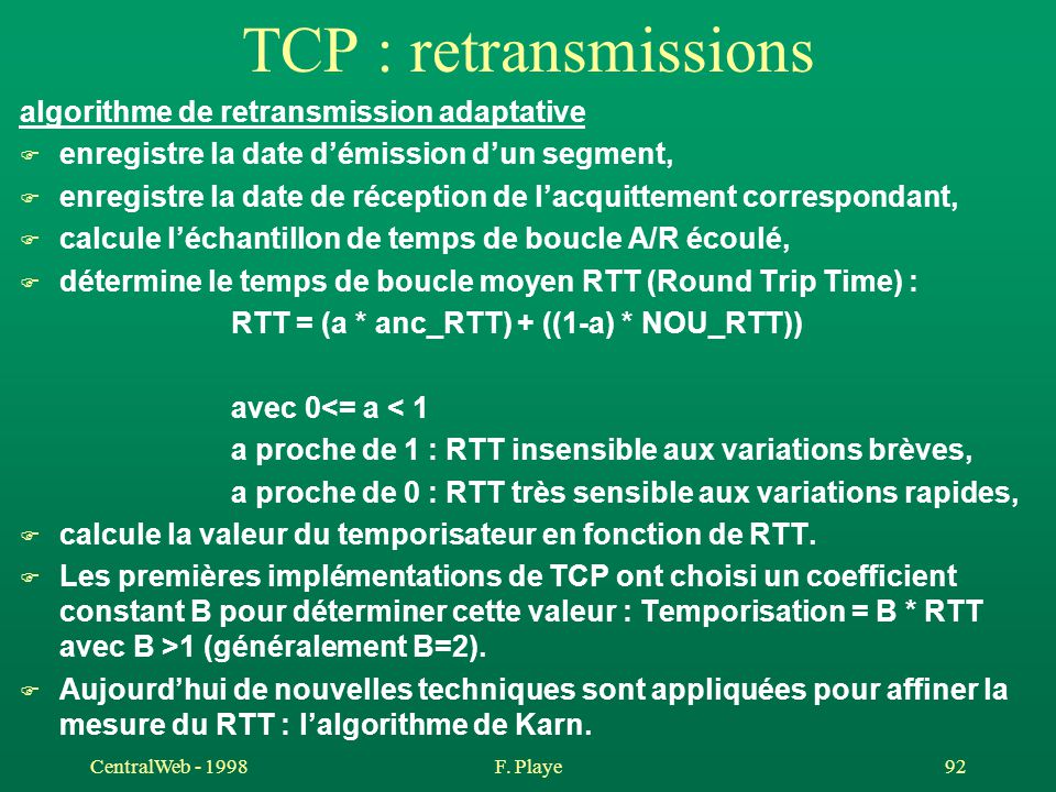 TCP : retransmissions algorithme de retransmission adaptative