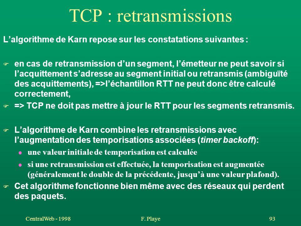 TCP : retransmissions L'algorithme de Karn repose sur les constatations suivantes :