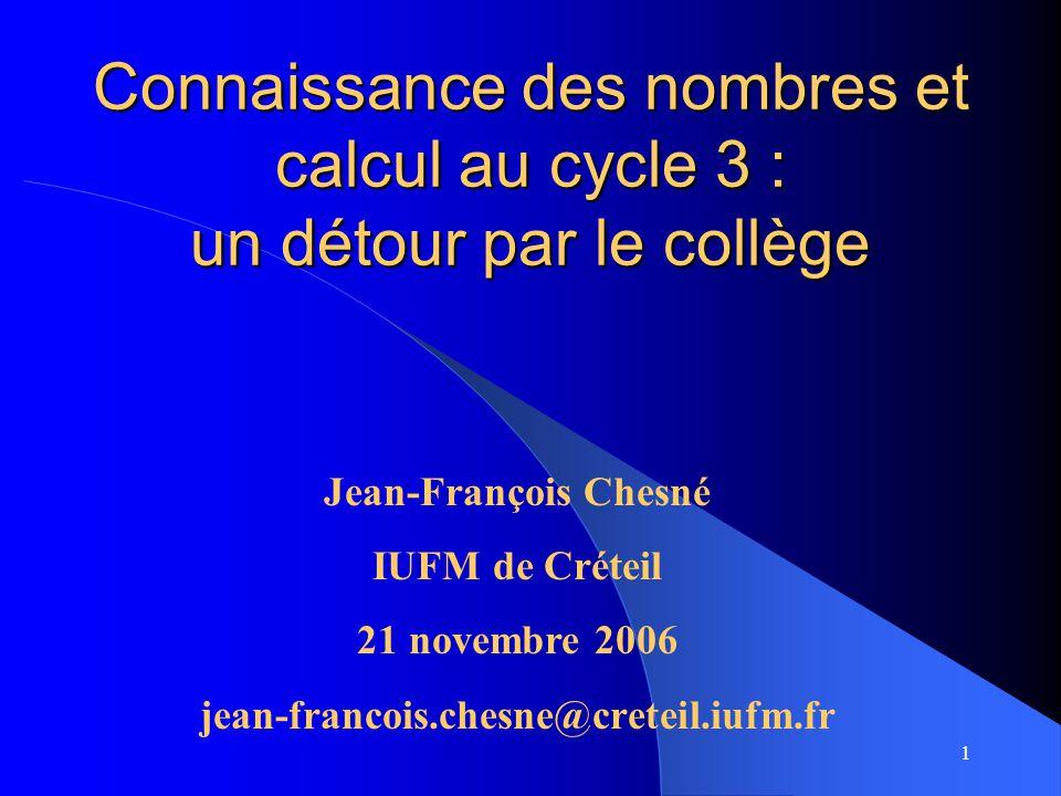 Connaissance des nombres et calcul au cycle 3 : un détour par le collège