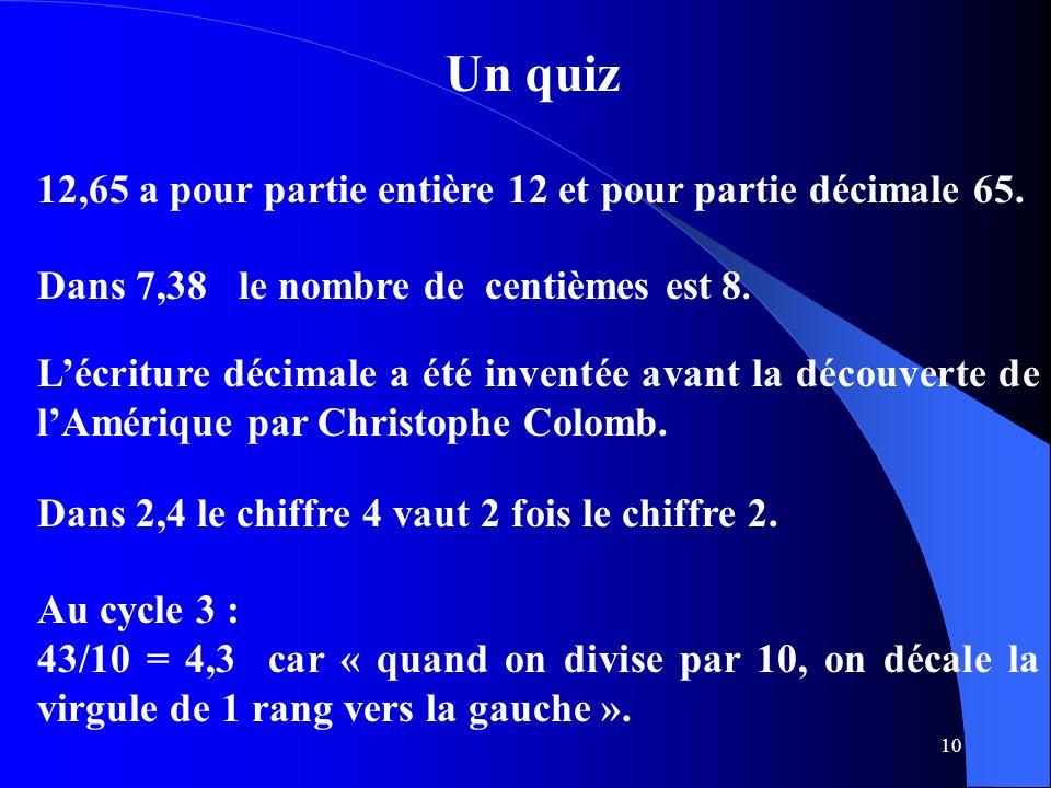 Un quiz 12,65 a pour partie entière 12 et pour partie décimale 65.
