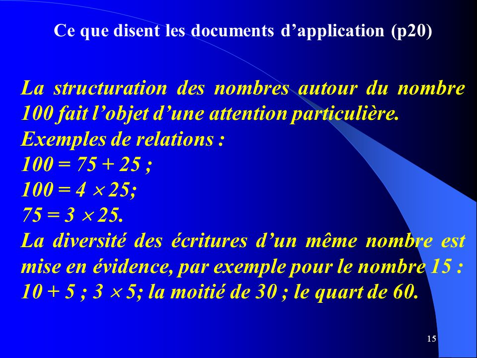 Ce que disent les documents d'application (p20)