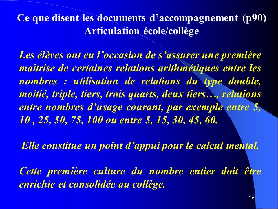 Ce que disent les documents d'accompagnement (p90)