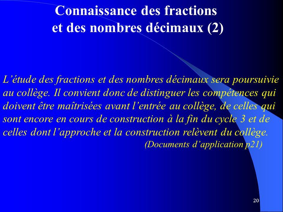 Connaissance des fractions et des nombres décimaux (2)