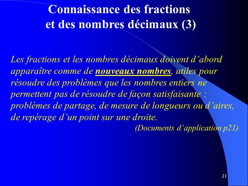Connaissance des fractions et des nombres décimaux (3)
