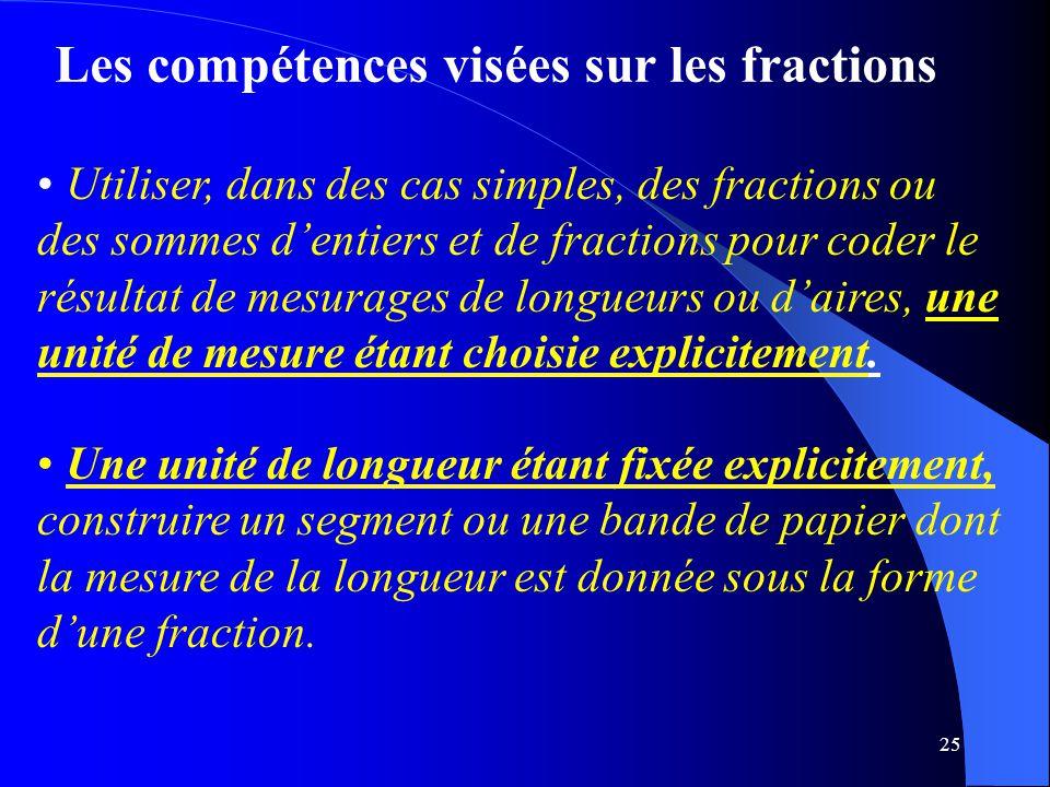 Les compétences visées sur les fractions