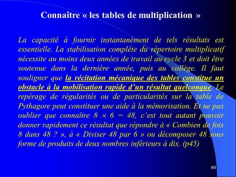 Connaître « les tables de multiplication »