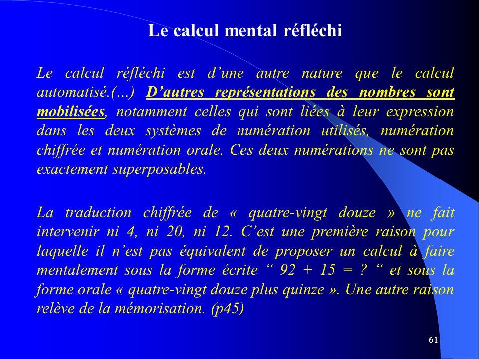 Le calcul mental réfléchi