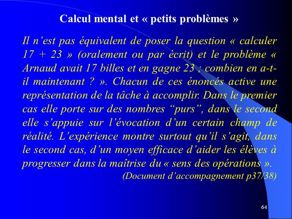 Calcul mental et « petits problèmes »