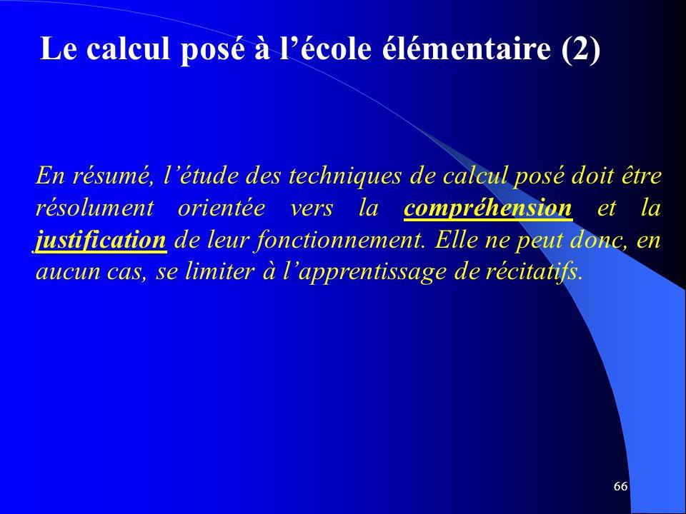Le calcul posé à l'école élémentaire (2)