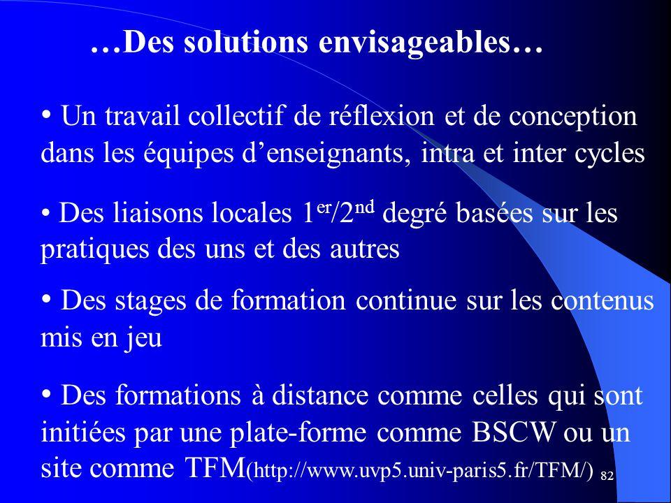 …Des solutions envisageables…