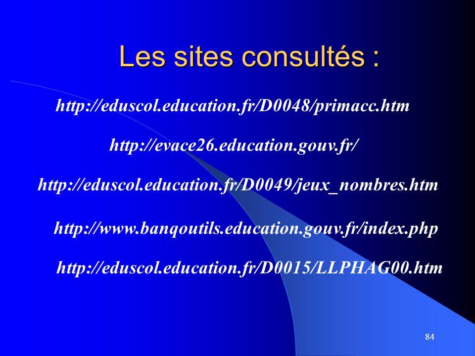 Les sites consultés : http://eduscol.education.fr/D0048/primacc.htm