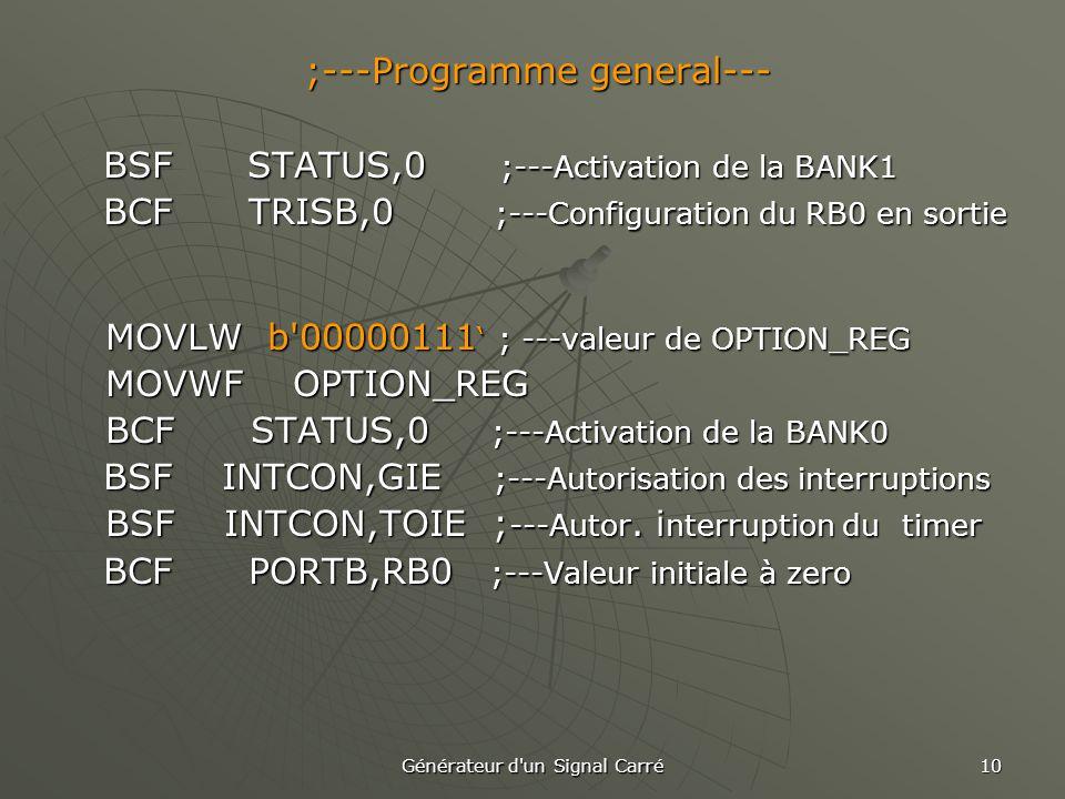 ;---Programme general--- BSF STATUS,0 ;---Activation de la BANK1
