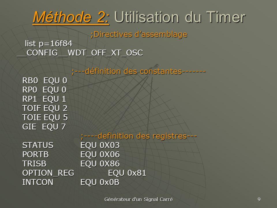 Méthode 2: Utilisation du Timer