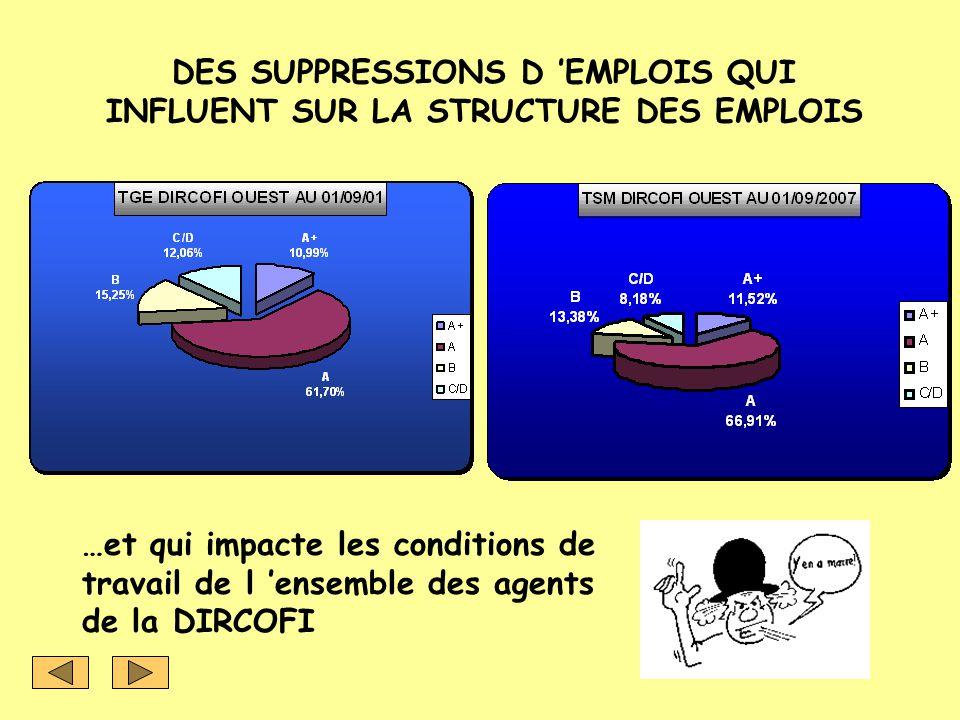 DES SUPPRESSIONS D 'EMPLOIS QUI INFLUENT SUR LA STRUCTURE DES EMPLOIS
