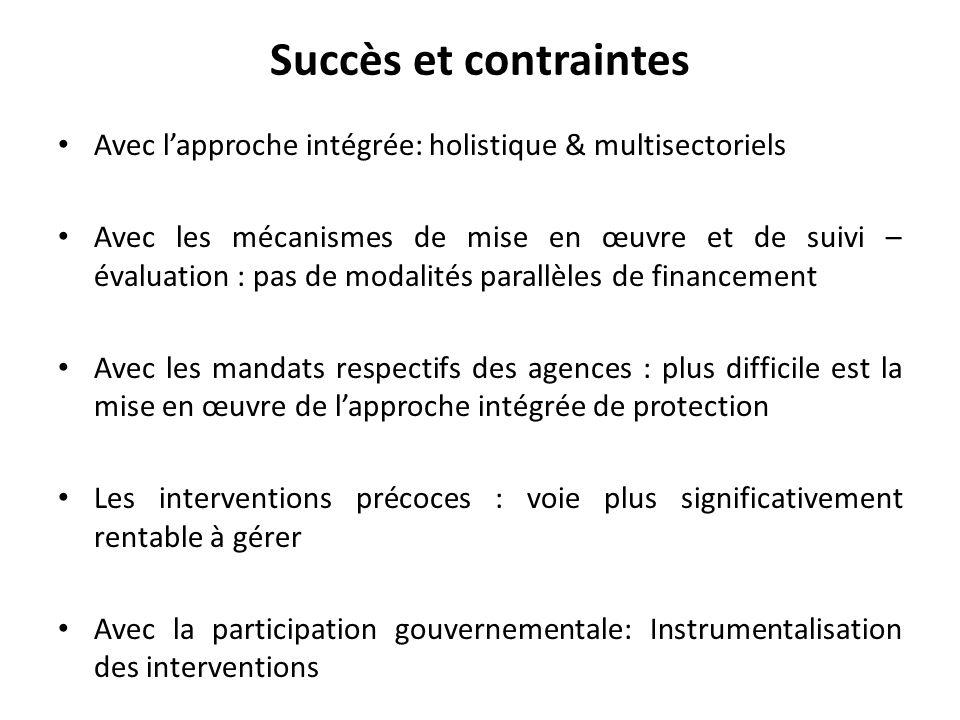Succès et contraintes Avec l'approche intégrée: holistique & multisectoriels.