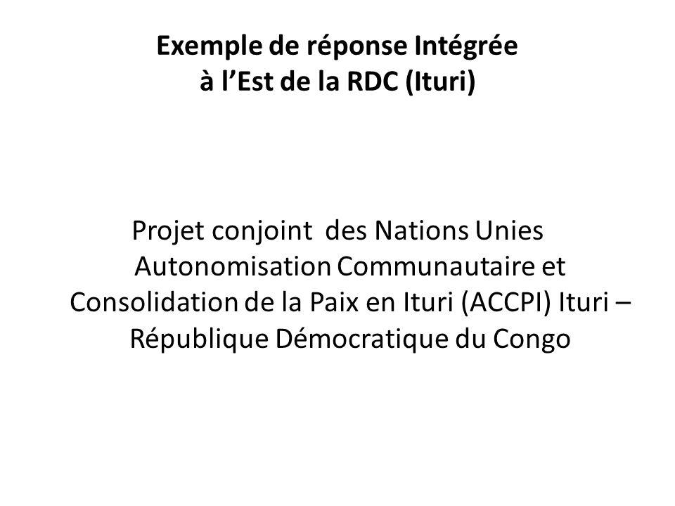 Exemple de réponse Intégrée à l'Est de la RDC (Ituri)